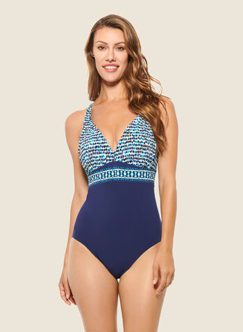 Christina - Dotted Print One-Piece Swimsuit, Blue,  swimsuit, swimwear, tropical print, one piece, fall winter 2020