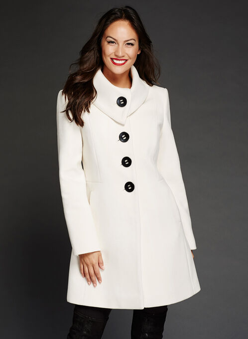Wool-Like Envelope Collar Coat, Off White, hi-res