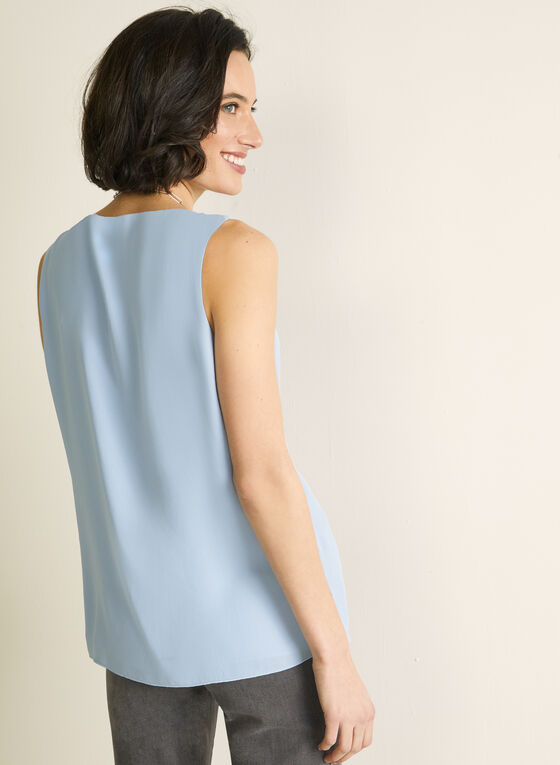 Sleeveless Ruffle Front Blouse, Blue