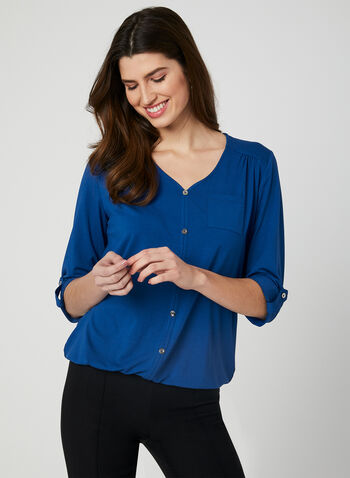 Haut à boutons décoratifs et manches ¾ , Bleu, hi-res