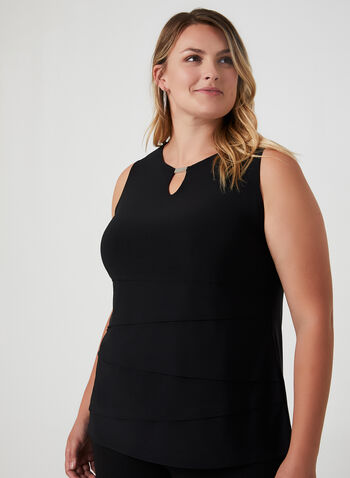 Sleeveless Layered Top, Black, hi-res,  sleeveless, metallic detail, cutout, jersey, layered, fall 2019, winter 2019