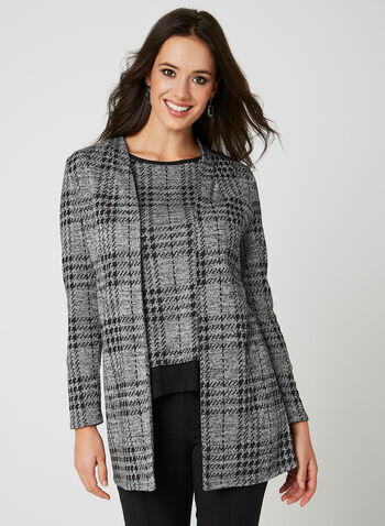 Plaid Print Open Front Top, Grey, hi-res