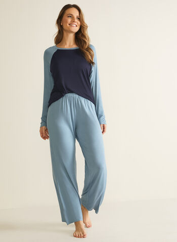 Colour Block Pyjama Set, Blue,  pyjama, set, 2-piece, colour blocking, wide leg, long sleeves, fall winter 2020
