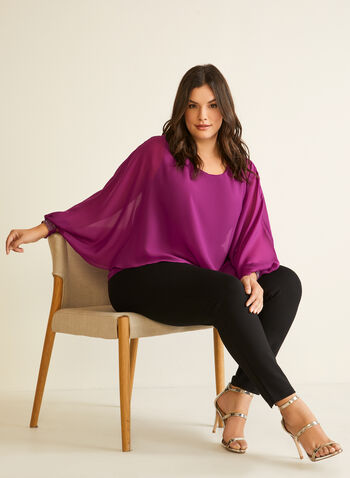 Asymmetric Chiffon Poncho Blouse, Purple,  top, blouse, poncho, chiffon, layered, asymmetric, long sleeves, fall winter 2020