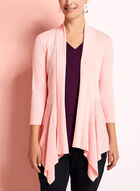Open Front Pointelle Cardigan, Pink, hi-res