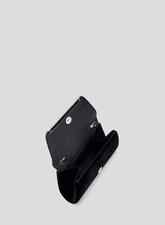 Crystal Embellished Envelope Clutch, Black, hi-res