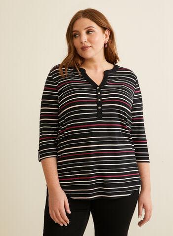 Stripe Print Elbow Sleeve Top, Black,  spring summer 2020, jersey fabric, 3/4 sleeves, stripe print