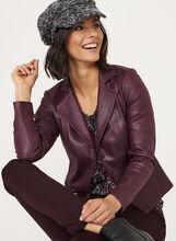 Vex - Blazer drapé aspect cuir, Pourpre, hi-res