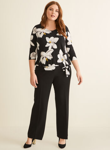 ¾ Sleeve Floral Print Top, Black,  canada, 3/4 sleeves, top, v-neck, floral print, floral print top, flower print, spring 2020, summer 2020