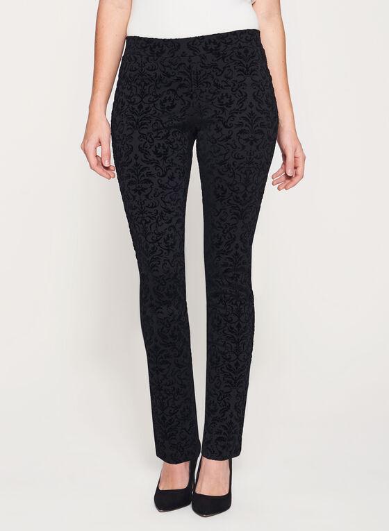 Pantalon pull-on aspect velours à jambe étroite, Noir, hi-res