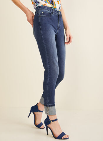 High-Rise Slim Leg Jeans, Blue,  jeans, denim, pants, ankle, rhinestones, slim leg, high rise, spring 2020