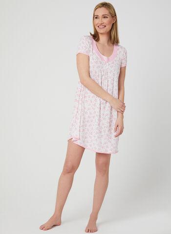 René Rofé - Floral Print Nightgown , White, hi-res,  floral print, spring 2019, nightgown