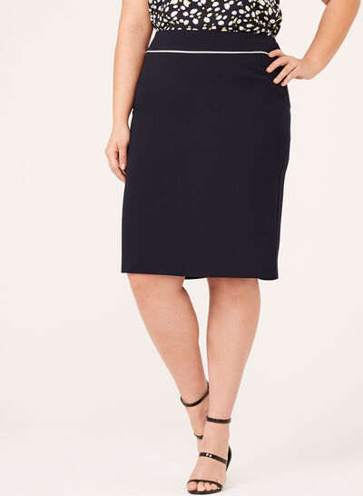 Contrast Piping Pencil Skirt
