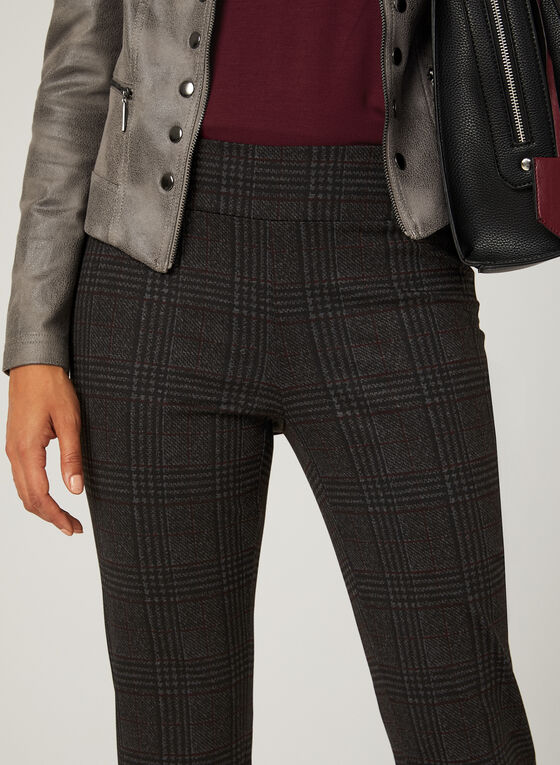 Modern Fit Plaid Print Pants, Black, hi-res