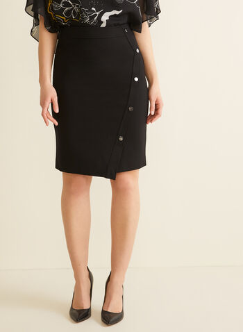 Button Detail Pencil Skirt, Black,  skirt, pencil skirt, buttons, slit, asymmetrical, spring summer 2020