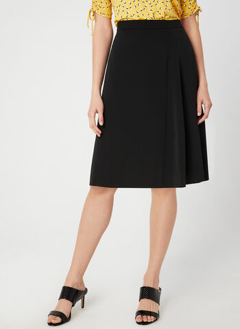 A-Line Midi Skirt, Black, hi-res,  fully lined, pleated, fall 2019, winter 2019