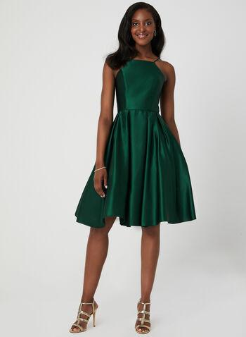 Satin Fit & Flare Dress, Green, hi-res,  spring 2019, summer 2019, cocktail dress, fit & flare, satin