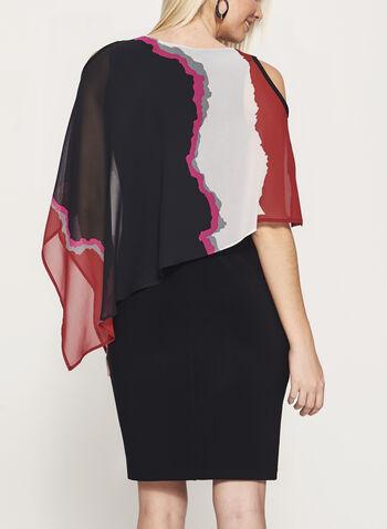 Picadilly - Abstract Cold Shoulder Poncho Dress, Black, hi-res