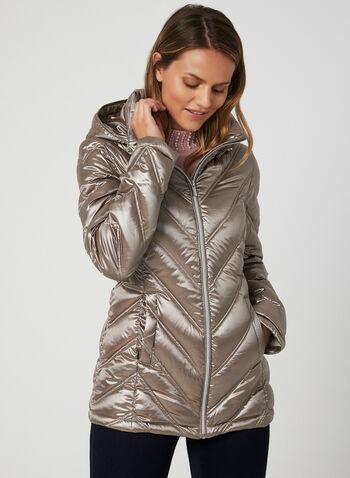 Manteau en duvet compressible , Brun, hi-res,  manteau, matelassé, duvet, capuchon amovible, synthétique, naturel, automne hiver 2019