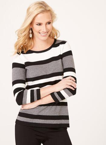 Pull tricot à rayures contrastantes et boutons, Gris, hi-res