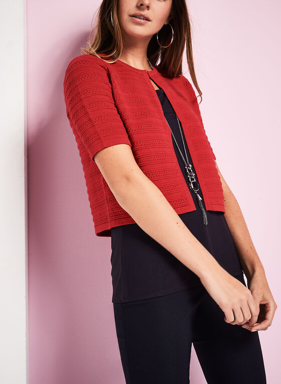 Elbow Sleeve Cropped Knit Cardigan, Red, hi-res