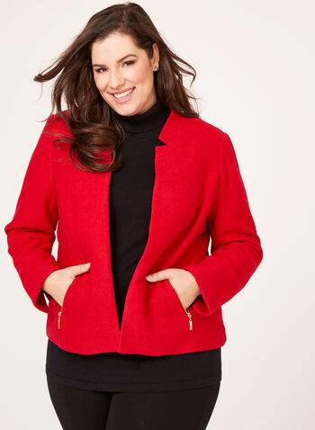 Veste courte en laine bouillie avec poches zippées, Rouge, hi-res