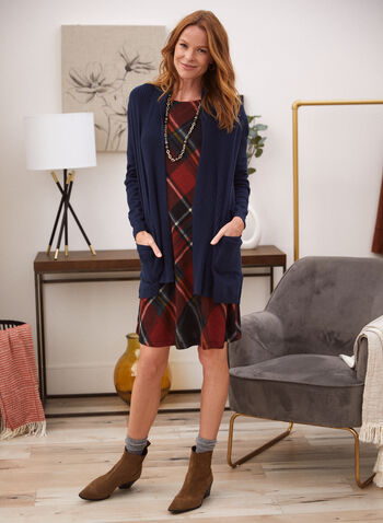 Bell Sleeve Plaid Dress, Red,  fall winter 2020, dress, bell sleeves, tartan pattern, round neck, fluid cut, holiday, holiday 2020, gifts