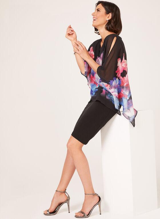 Robe poncho fleurie à épaules ajourées, Noir, hi-res