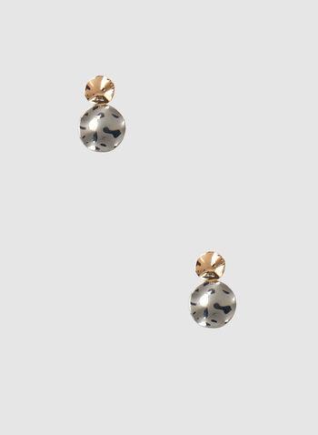 Boucles d'oreilles à disques effet martelé, Jaune, hi-res,  automne hiver 2019, boucles d'oreilles, disque, deux tons, bijou, accessoire