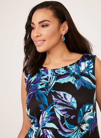 Ruffle Detail Scuba Dress, Blue, hi-res