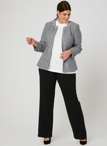 Pearl Detail Wool Jacket, Grey, hi-res