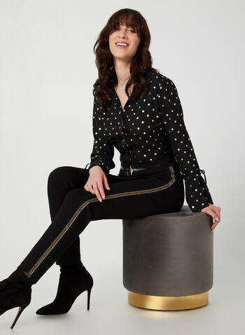 Metallic Polka Dot Print Blouse, Black,  blouse, polka dot print blouse, polka dot top, metallic top, long sleeves, button down, fall 2019, winter 2019