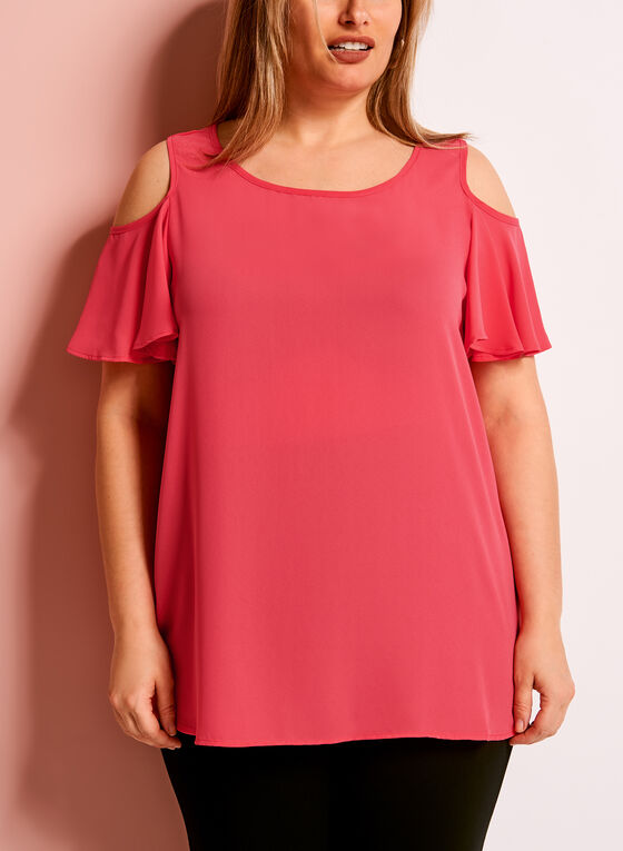 Ruffle Sleeve Cold Shoulder Top, Red, hi-res