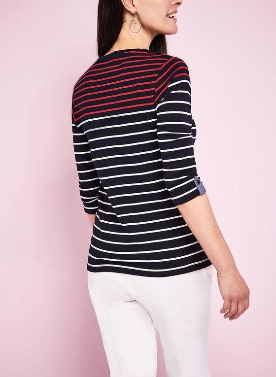 ¾ Sleeve Stripe Print T-Shirt, Blue, hi-res