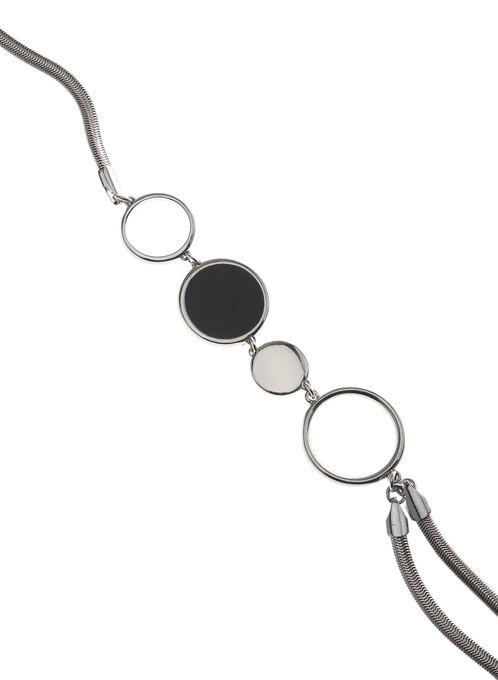 Collier sautoir double-rang avec anneaux, Bleu, hi-res