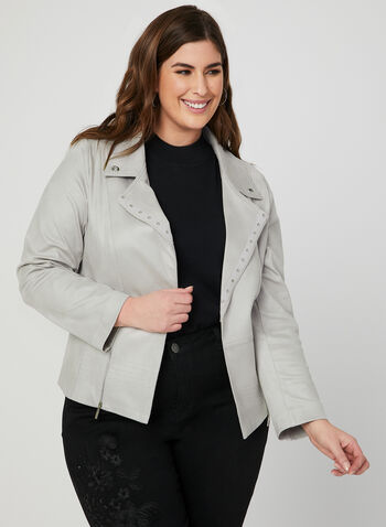Open Front Faux Suede Jacket, Grey, hi-res