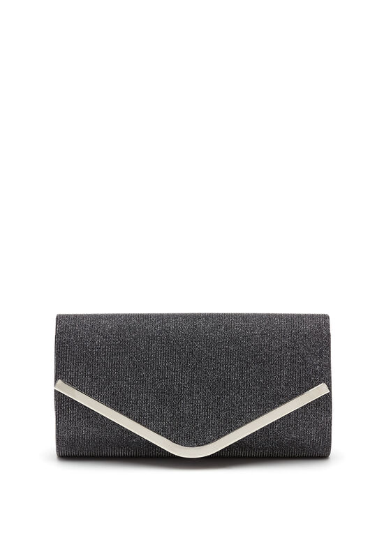 Metallic Trim Glitter Envelope Clutch  , Black, hi-res