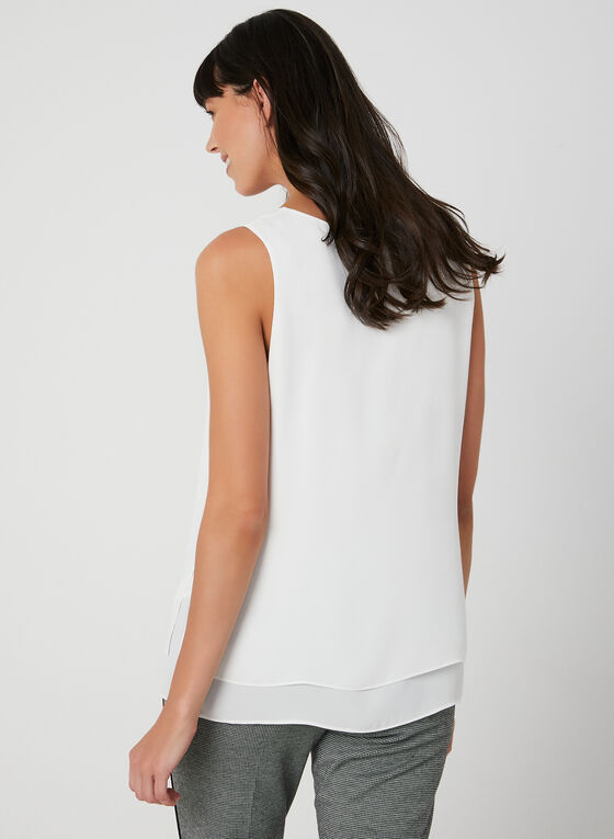 Sleeveless Crepe Top, Off White, hi-res