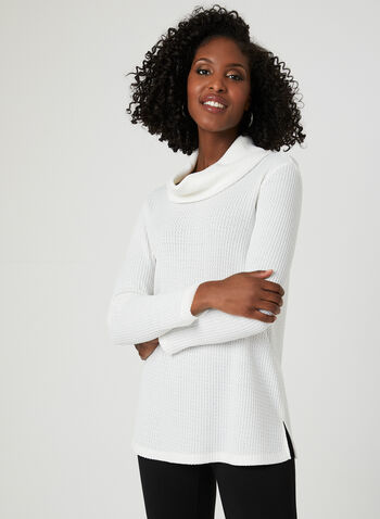 Textured Knit Top, Off White, hi-res