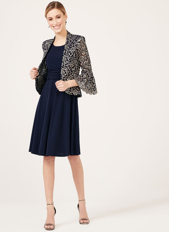 07de92a7b5e ... Jessica Howard – Lace Jacket Ruched Dress Set