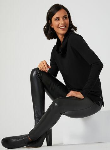 Long Sleeve Cowl Neck T-Shirt, Black, hi-res