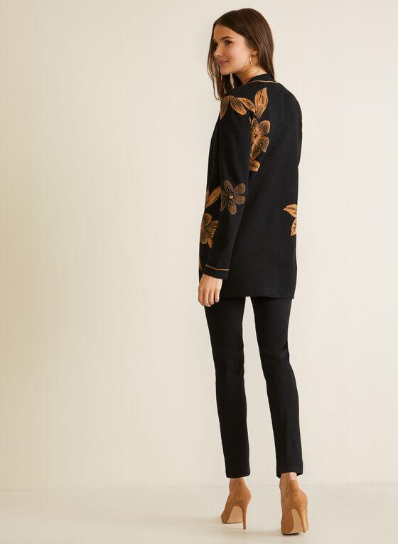 Floral Jacquard Long Cardigan, Black