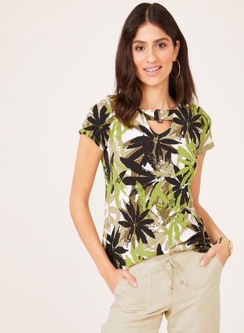 Tropical Print Short Sleeve Top, Green, hi-res