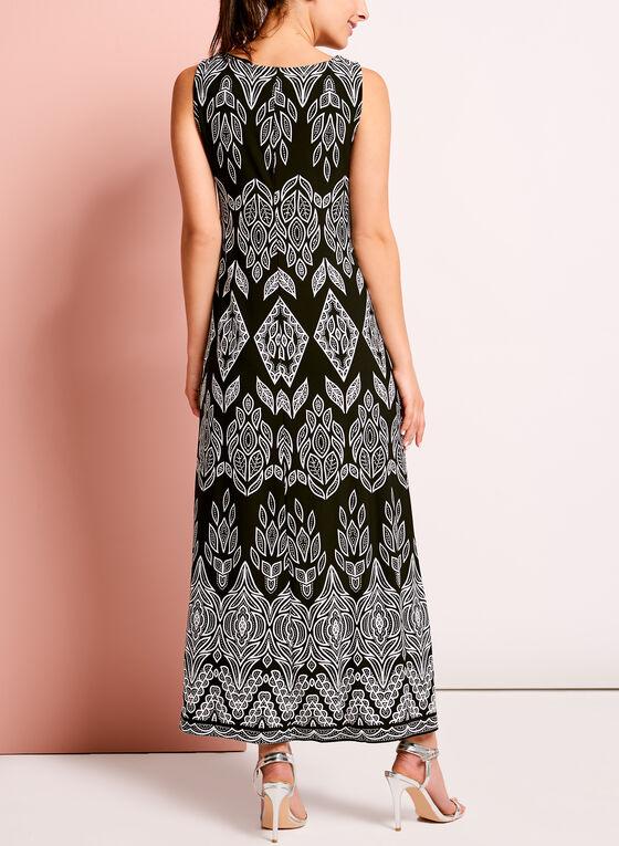 Sleeveless Medallion Trim Maxi Dress, Black, hi-res