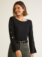 Button Detail Flare Sleeve Top, Black