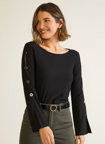 Button Detail Flare Sleeve Top, Black,  fall winter 2020, top, long sleeves, flared, scoop neck, cutout, buttons, crepe fabric, made in Canada