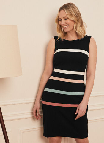 Contrast Stripe Sleeveless Dress, Black,  day dress, short, scuba, crepe, sleeveless, scoop neck, stretchy, contrast, stripes, sheath, spring summer 2021
