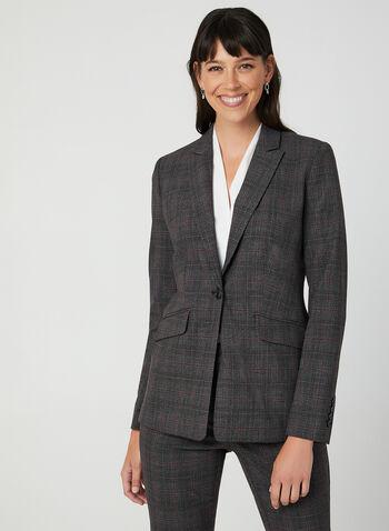Notch Collar Blazer, Grey, hi-res,  notch collar, long sleeves, plaid print, one button, 1 button, fall 2019, winter 2019
