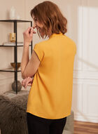 Button Front Ruffle Detail Blouse, Yellow