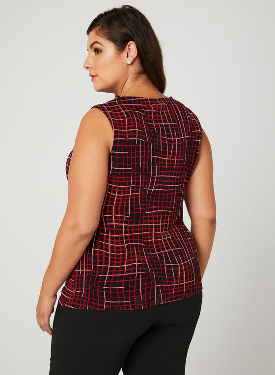 Abstract Plaid Print Blouse, Black, hi-res